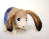 Christoforo - Felt  Little Hare with floppy ears. Art Toy Felted Bunny Stuffed Animals.  neutral beige cream brown blue. MADE TO ORDER