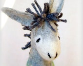 Grey Mathias - Felt Donkey. Art Toy. Felted Stuffed Marionette Puppet Handmade Animals Toys. grey green blue. MADE TO ORDER.