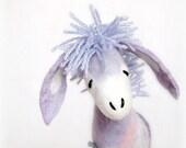Vasilisa - Felt Donkey. Art Marionette. Handmade Puppet. Felted Stuffed Toys. lilac purple lavender  blue. Special order for  r0se34.