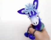 Denis - Small Felt Donkey. Art Toy. Felted Stuffed Marionette Puppet Handmade Toys. electric blue aquamarine. MADE TO ORDER.