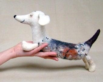Natasha - Felt Dachshund, Art toy, Felt dog, Stuffed toy, Felt Toy, dog plush, Felted Toy. Organic toy. white beige neutrals. MADE TO ORDER