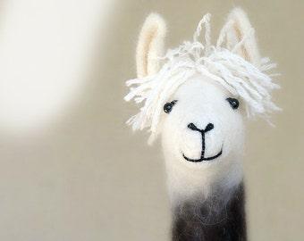 Debora - Felt Llama, Art Marionette Puppet Handmade Stuffed Toy. Alpaca. brown cream white neutral beige. MADE TO ORDER.