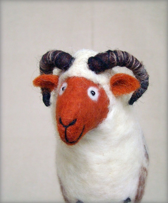 Bastien - Felt Ram. Art Marionette. Handmade Puppet. Felted Stuffed Toy. Waldorf Style Sheep. white brown orange neutral. MADE TO ORDER