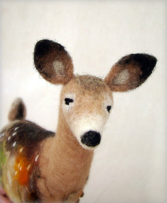 Helga -  White Tailed Female Deer, Art Puppet, Marionette, Stuffed Animal, Felted Toy. Special order for Karen