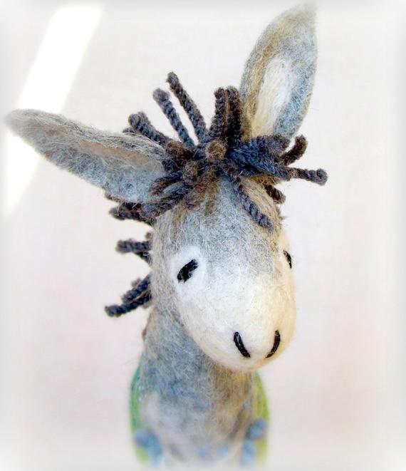 Grey Mathias - Felt Donkey. Art Toy. Felted Stuffed Marionette Puppet Handmade Animals Toys. grey green blue. MADE TO ORDER.