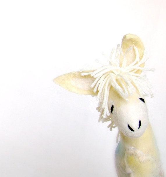 Alex - Yellow Felt Donkey. Art Toy. Felted  Marionette Puppet Handmade Felt Animals Toys. lemon neutral gold sunny sun . MADE TO ORDER.