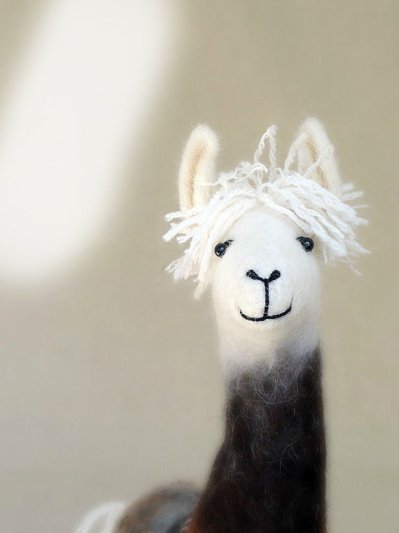 Debora - Felt Llama, Art Marionette Puppet Handmade Stuffed Toy. Alpaca. brown cream white neutral beige. MADE TO ORDER.
