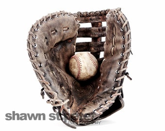 Vintage Baseball Glove and Ball on White, Photo Print ,Decorating Ideas, Wall Decor, Wall Art,  Kids Room, Nursery Ideas, Gift Ideas,