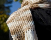 Knitted scarf - brown with cream, for women, men or children, warm in spring, autumn and winter