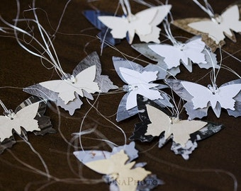 Set of butterfly gift tags
