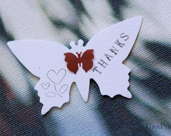 Butterfly THANKS tags - Set of 18 red and white butterflies