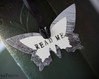 READ ME - Butterfly Bookmark with black ribbon - gift for reader, writer or your library