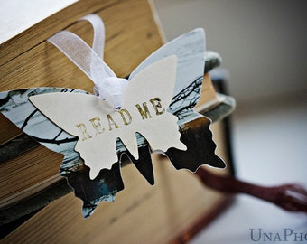 READ ME - Butterfly Bookmark - gift for reader, writer or your library
