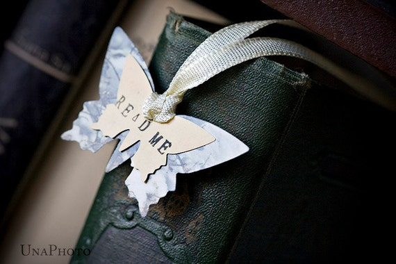 READ ME - Butterfly Bookmark with ivory ribbon - gift for reader, writer or your library