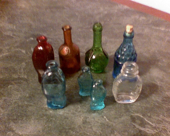 small colored glass bottles by bandttreasures on etsy