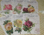 Vintage Gift Tags on Old French Journal Page Ooh La La Hang Tags with Vintage Roses
