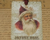 Vintage Santa Joyeux Noel Gift Tag with Seam Binding