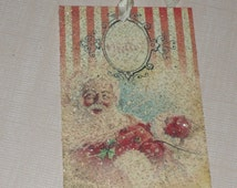 Vintage Santa Clause Gift Tag with Mica Flakes and Seam Binding