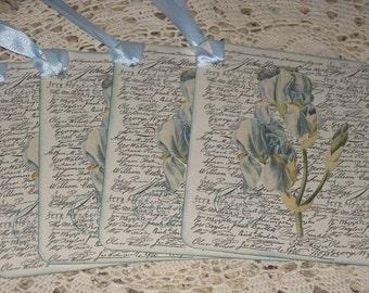 Vintage Script and Floral Tag set of 4