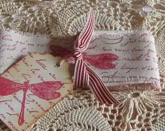Hand Cut, Fringed and Stamped Muslin Ribbon with French Script and Dragonfly