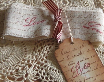 Hand Cut, Fringed and Stamped Muslin Ribbon with French Script and Love