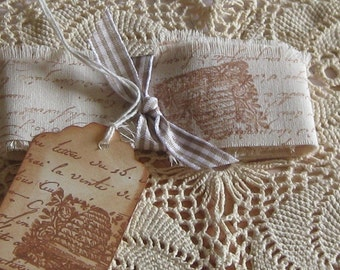 Hand Cut, Fringed and Stamped Muslin Vintage Ribbon with French Script and Bee Hive