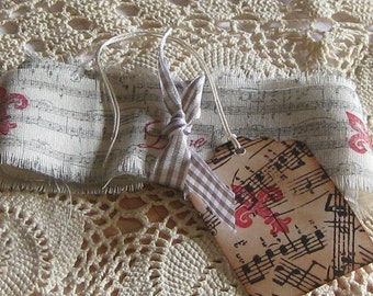 Hand Cut, Fringed and Stamped Vintage Muslin Ribbon with Music Note and Fleur De Lis