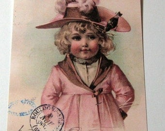 French Vintage Gift Tags Elegant Child with Bonnet