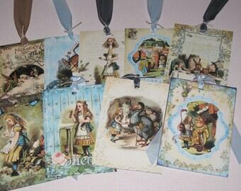 Vintage Alice in Wonderland set of Nine Assorted Vintage Gift Tags ATC