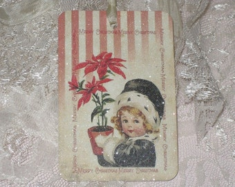 Merry Christmas Vintage Gift Cards with Glitter and Seam binding Vintage Child with Pointsettia