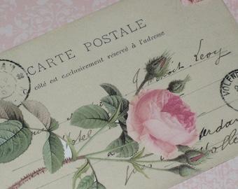 Vintage Carte Postale Rose Gift Tag Vintage Hang Tag Set of Five