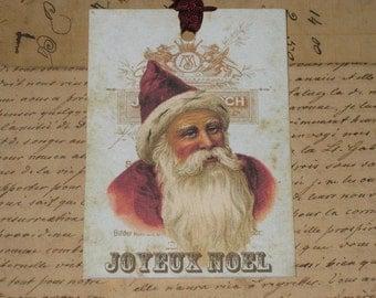 Joyeux Noel Vintage Santa Gift Tags Set of 6 with Seam Binding Hang Tags