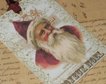 Joyeux Noel Vintage Santa Gift Tags with Seam Binding Set of 6