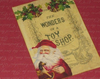 Vintage Wonders of a Toy Shop Santa Gift Tags Vintage Santa Gift Cards Christmas