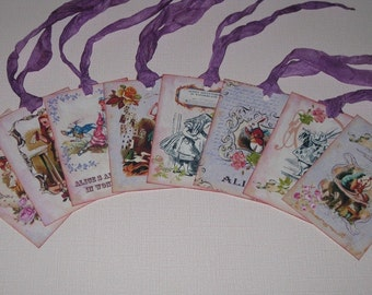 Alice in Wonderland Set of 8 Gift Tags with Hand Crinkled and Hand Dyed Seam Binding