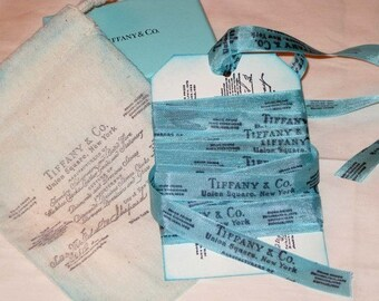 Vintage Style Seam Binding, Old Jewelry Receipt image on Turquoise Seam Binding, Muslin Gift Pouches, Tag and Seam Binding Gift Set