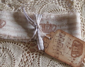 Hand Cut, Fringed and Stamped Muslin Ribbon with Music Notes and Crown