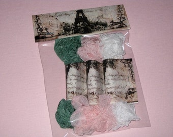 Hand Crinkled and Dyed Vintage Pink Rose Seam Binding Packaged ECS