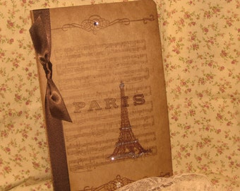 Large Handmade Moleskine Cahier with  Music and Eiffel Tower Ooh La La ECS