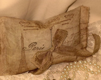 Vintage French Market Sachet Handmade and Hand Stamped Filled with French Lavender Ooh La La