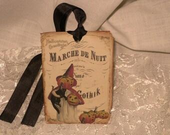 Vintage Halloween Gift Tags Set of 6 with Seam Binding Hang Tags ECS