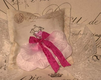 Vintage Fancy Dress Handmade and Hand Stamped Sachet Filled with French Lavender Ooh La La