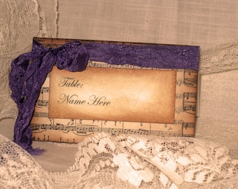 Vintage Style French Elegant Wedding Place Cards with Music Design Original Design