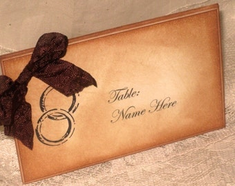 Vintage Style French Elegant Wedding Place Cards with Wedding Rings Original Design