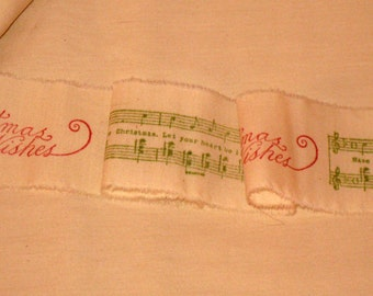 Christmas Collection Stamped Vintage Muslin Ribbon with Merry Christmas Music Notes