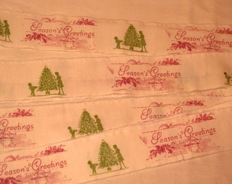 Christmas Collection Stamped Vintage Muslin Ribbon Season's Greetings Carte Postale ECS