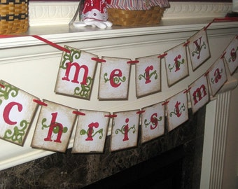 Merry Christmas Double Banner Garland Vintage Sign Chistmas Holiday
