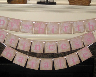 PERSONALIZED Princess Happy Birthday Triple Banner Garland Vintage Sign with Name for Boy Girl Family Adult and Child