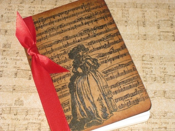 Handmade Moleskine Notebook Altered with Music Notes and Marie Antoinette Ooh La La