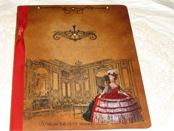 Extra Large Handmade Moleskine Notebook Altered with Salon The Petit Trianon Versailles Marie Antoinette in Color Ooh La La